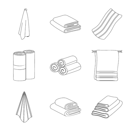 Isolated object of fabric and hygiene symbol. Set of fabric and bathroom stock vector illustration.