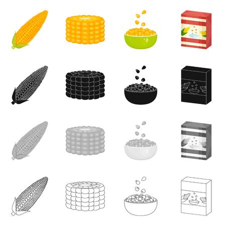 Vector design of cornfield and vegetable logo. Set of cornfield and vegetarian stock symbol for web. Illustration