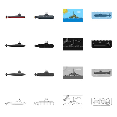 Vector design of war  and ship sign. Set of war  and fleet vector icon for stock. Ilustrace