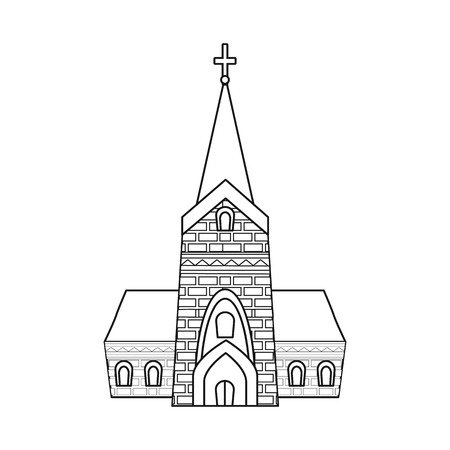 Isolated object of church and catholic icon. Collection of church and europe stock symbol for web.