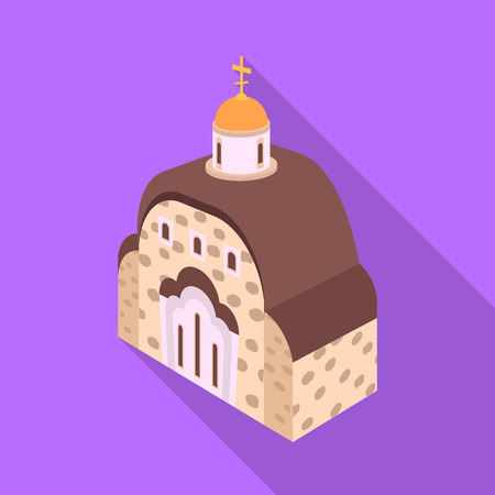 Vector design of church and orthodox icon. Collection of church and chapel stock vector illustration.