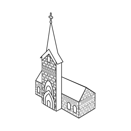 Vector illustration of church and catholic icon. Set of church and construction stock vector illustration. Ilustração
