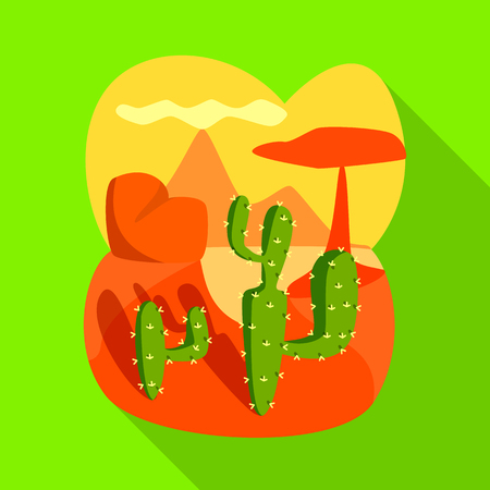 Isolated object of landscape and cactus icon. Collection of landscape and rock vector icon for stock.