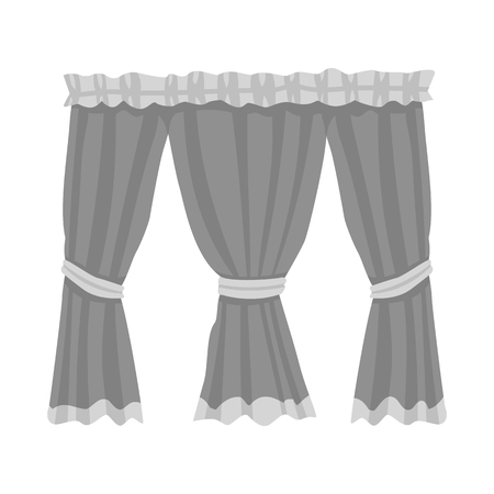 Vector illustration of curtain and apartment icon. Collection of curtain and golden stock symbol for web.