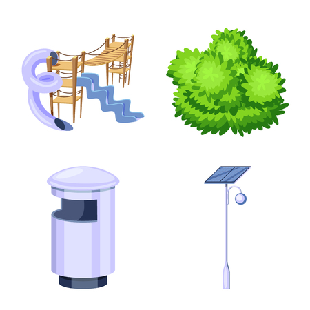 Vector illustration of landscape and park icon. Collection of landscape and nature vector icon for stock.