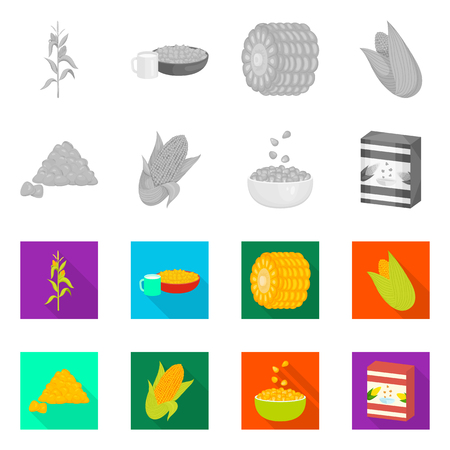 Vector design of cornfield and vegetable. Collection of cornfield and vegetarian vector icon for stock.