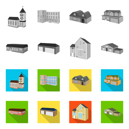 Isolated object of facade and housing sign. Collection of facade and infrastructure vector icon for stock.