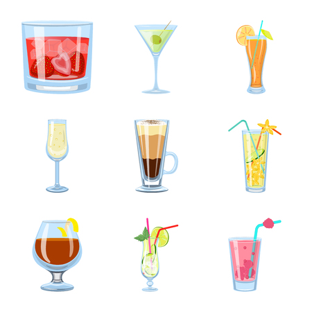 Vector illustration of cocktail and drink icon. Collection of cocktail and ice stock vector illustration. 일러스트