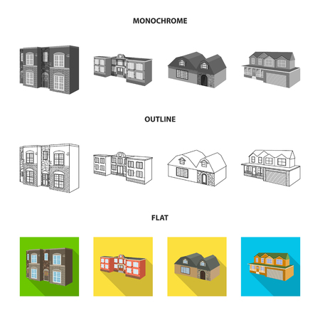 Vector design of facade and housing. Set of facade and infrastructure stock vector illustration. Vectores