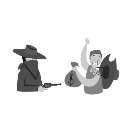 Vector illustration of robbery and cowboy icon. Set of robbery and bank vector icon for stock. Illustration
