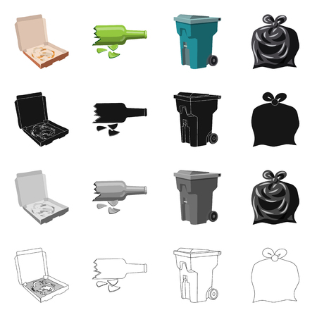 Vector design of dump  and sort icon. Set of dump  and junk stock vector illustration.