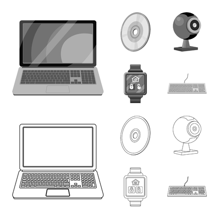 Vector design of laptop and device sign. Set of laptop and server vector icon for stock. Illustration