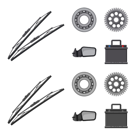 Vector design of auto and part symbol. Set of auto and car vector icon for stock. Ilustração