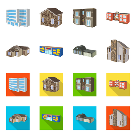 Vector design of facade and housing sign. Set of facade and infrastructure stock vector illustration.