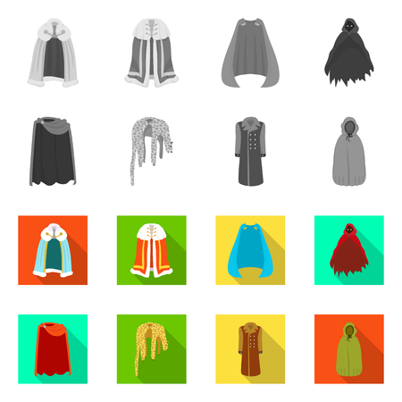 Vector illustration of material and clothing sign. Collection of material and garment stock vector illustration.