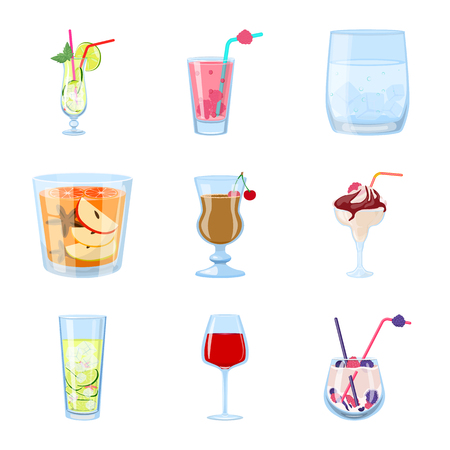 Isolated object of cocktail and drink logo. Collection of cocktail and ice stock symbol for web.