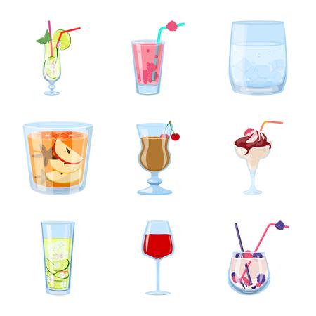 Isoliertes Objekt des Cocktail- und Getränkelogos. Sammlung von Cocktail- und Eisstocksymbolen für das Web.
