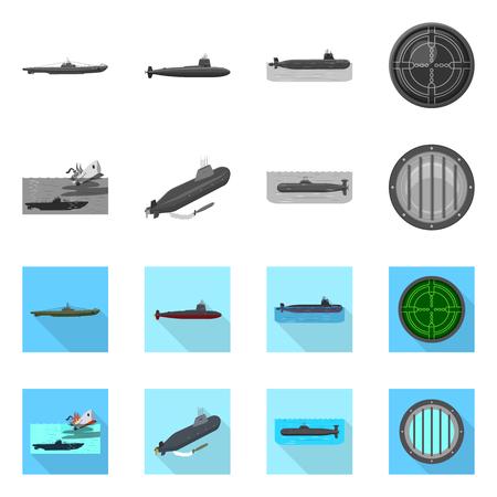 Isolated object of war  and ship sign. Set of war  and fleet stock vector illustration.