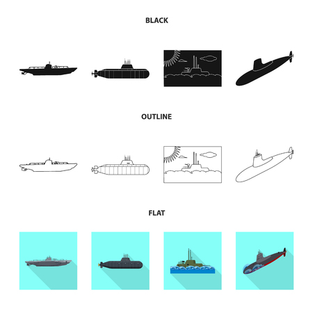 Isolated object of war  and ship logo. Set of war  and fleet vector icon for stock.
