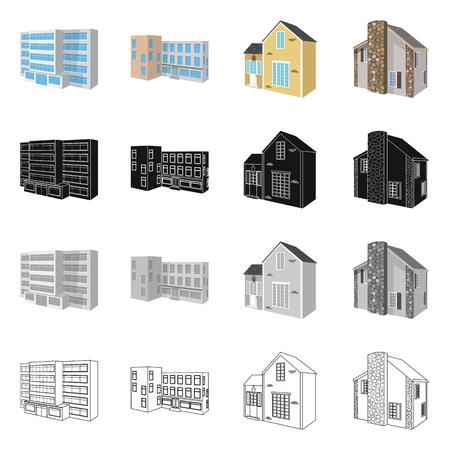 Vector design of facade and housing icon. Set of facade and infrastructure vector icon for stock.
