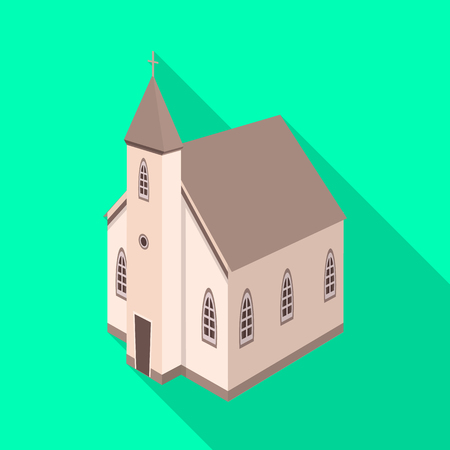 Isolated object of church and catholic symbol. Collection of church and steeple vector icon for stock.