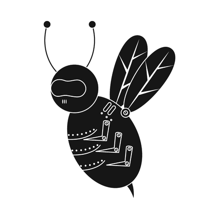 Isolated object of bee and insect icon. Collection of bee and steampunk stock vector illustration.