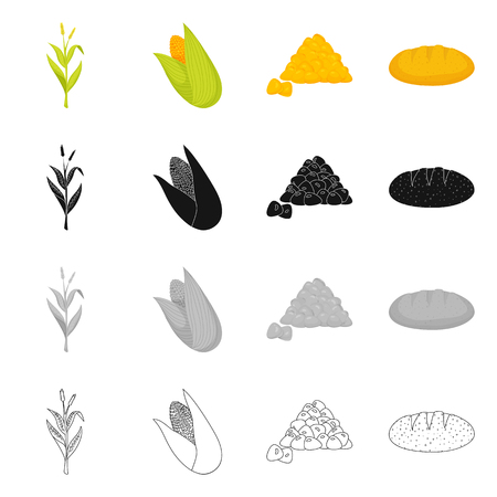 Vector illustration of cornfield and vegetable symbol. Set of cornfield and vegetarian stock vector illustration. Banque d'images - 123261203