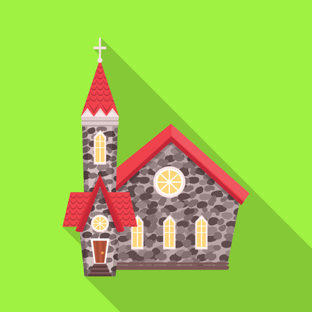 Vector illustration of church and catholic icon. Set of church and easter vector icon for stock. Illusztráció