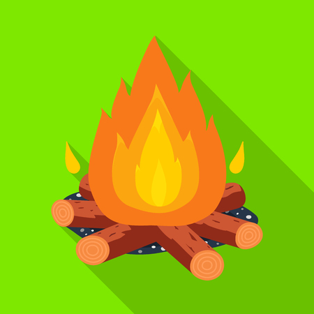 Isolated object of bonfire and fire logo. Set of bonfire and flame stock vector illustration.