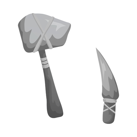 Vector design of prehistoric and weapon icon. Collection of prehistoric and flint stock vector illustration. Stock Illustratie