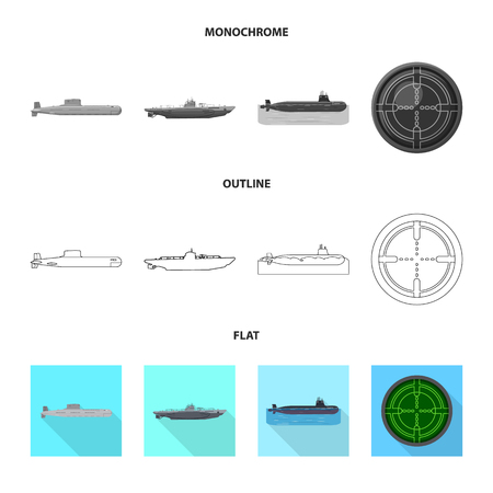 Vector illustration of war  and ship sign. Collection of war  and fleet stock vector illustration. Vettoriali