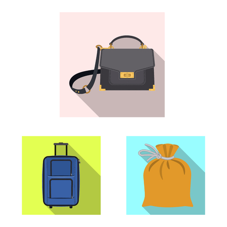 Vector illustration of suitcase and baggage symbol. Set of suitcase and journey stock symbol for web.