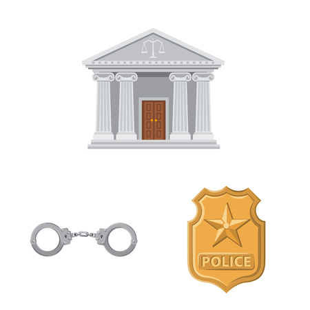 Vector illustration of law and lawyer logo. Collection of law and justice stock symbol for web.