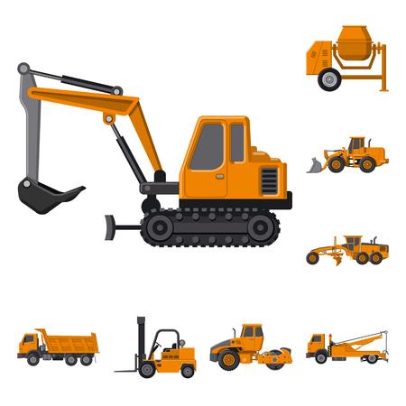 Conception de vecteur d'icône de construction et de construction. Collection d'illustration vectorielle de construction et de machines.