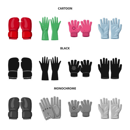 Vector design of glove and winter sign. Collection of glove and equipment vector icon for stock. Vettoriali