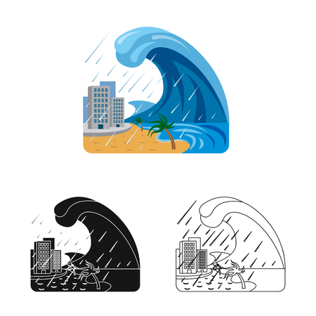 Isolated object of natural and disaster icon. Collection of natural and risk stock vector illustration.