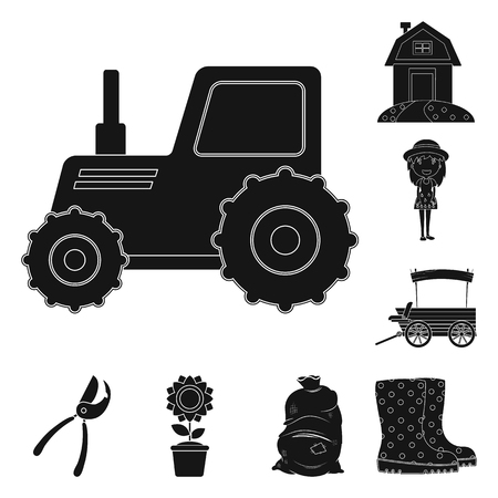 Isolated object of farm and agriculture sign. Collection of farm and plant vector icon for stock. Standard-Bild - 121204653