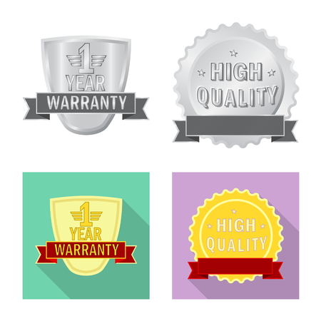 Isolated object of emblem and badge. Set of emblem and sticker vector icon for stock. Illustration