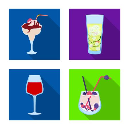 Vector design of liquor and restaurant symbol. Set of liquor and ingredient stock vector illustration. Illustration