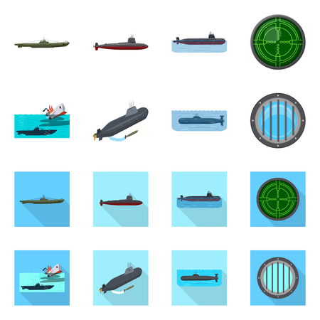 Vector design of war  and ship icon. Collection of war  and fleet vector icon for stock. Vettoriali