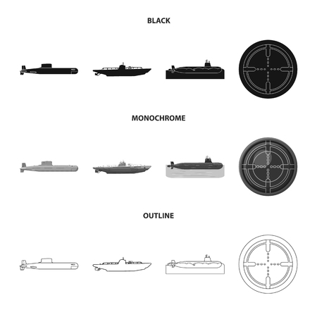 Vector design of war  and ship symbol. Set of war  and fleet vector icon for stock. Illustration