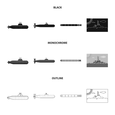 Vector illustration of war  and ship sign. Collection of war  and fleet stock symbol for web.