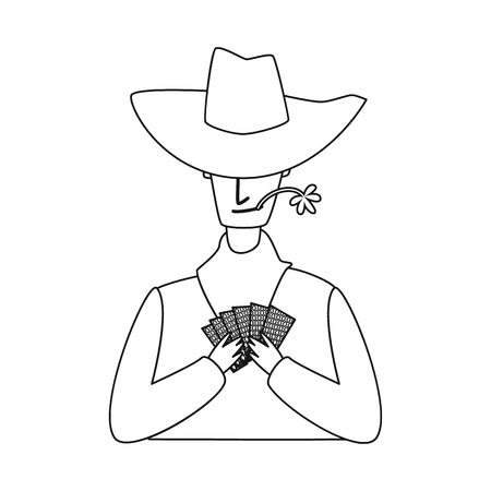Isolated object of cowboy and man logo. Collection of cowboy and hunter vector icon for stock.
