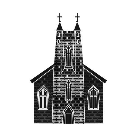 Vector design of church and catholic symbol. Collection of church and cathedral stock vector illustration. Ilustração