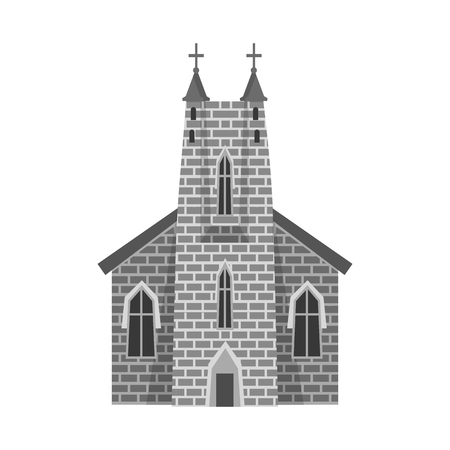 Isolated object of church and catholic sign. Set of church and cathedral vector icon for stock.