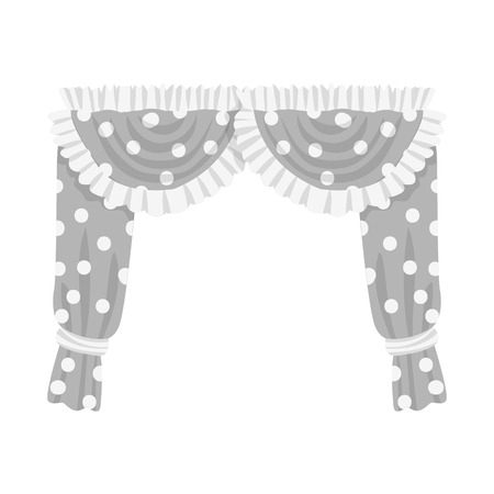 Vector design of curtain sign. Set of curtain and material stock vector illustration.