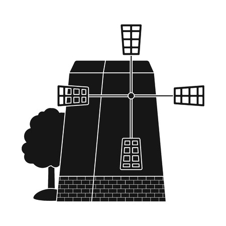 Isolated object of mill and wind icon. Set of mill and rural stock vector illustration.