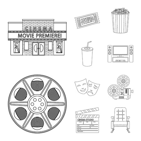 Isolated object of cinematography and studio sign. Set of cinematography and entertainment stock symbol for web. Çizim