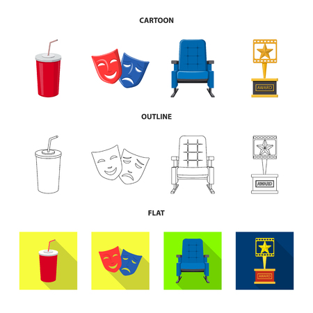Vector design of television and filming symbol. Set of television and viewing stock vector illustration. Çizim