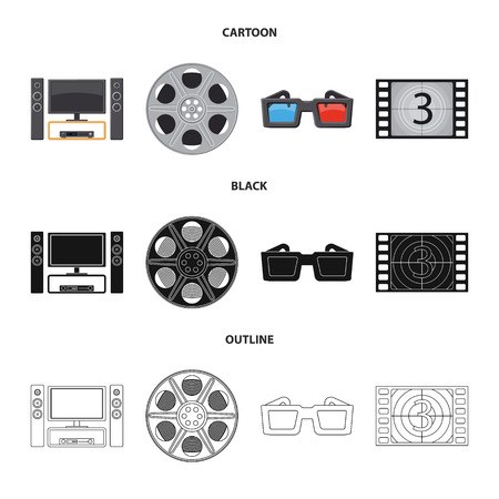 Vector illustration of television and filming sign. Set of television and viewing stock vector illustration.